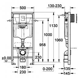 Grohe Solido 3 в 1 для подвесного унитаза, с накладной панелью Nova Cosmo и принадлежностями для монтажа перед стеной фото 2